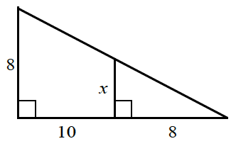 A right triangle, has horizontal side, 8, and vertical side x. The horizontal side is extended, 10 units, creating, a horizontal base of a larger right triangle. The larger right triangle, has a vertical side of 8.