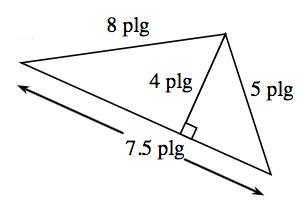 Triángulo con una base de 7.5 pulgadas, lado izquierdo de 6 pulgadas, y lado derecho de 5 pulgadas. Se crean dos triángulos interiores mediante un segmento de recta, rotulado 4 pulgadas, trazado desde el vértice de arriba hasta la base, en ángulo recto.