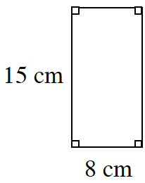 15 centimeter by 8 centimeter rectangle
