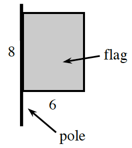 Vertical segment, labeled pole, with rectangle, labeled flag, whose left edge, shares most of the upper part of the segment, left edge of rectangle, labeled 8, bottom edge labeled, 6.