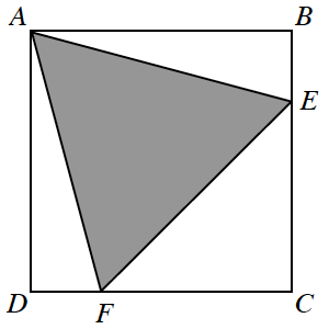 Rectangle, A B C D, with point e, about 1 fourth from vertex b, on side, B C, & point f, about 1 fourth from vertex d, on side C D, & shaded triangle, A E F.