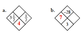 Diamond Problem a: Left 3 and 1 half, Right 1 half, Top blank, Bottom 4  Diamond problem b: Left 7, Right blank, Top negative 28, Bottom 3
