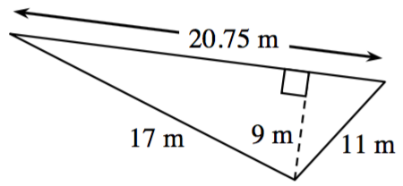 A triangle with sides labeled as follows: left side, 11 m, right side, 17 m, bottom, 20.75 m, with a line segment, labeled, 9 m, from the top vertex, to the bottom, at right angles.
