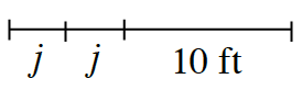 A line segment with 3 sections. 2 equal sections are each labeled, j, and last section labeled 10 feet,