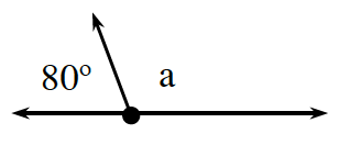 Two adjacent angles together form a line. The angle on the left is, 80 degrees. The angle on the right is, A.