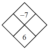 Diamond Problem. Left blank, Right blank, Top negative 7, Bottom 6
