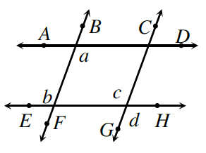 Two increasing transversal lines, BF, and CG, cross two possibly horizontal lines, AD, and EH. At the intersection of lines, AD and BF: interior bottom angle is a. At the intersection of lines, EH and BF: exterior top angle is b. At the intersection of lines, EH and CG: interior top angle is c, exterior bottom angle is d.