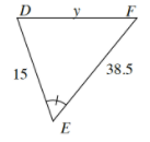 Larger triangle, D,E,F, with sides as follows: D,E, is 15. D,F, is y. Side E,F, is 38.5.