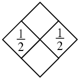 Diamond Problem. Left 1 divided by 2, Right 1 divided by 2, Top blank,  Bottom blank