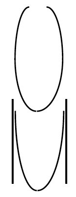 A vertical oval, with opening at the top so that the ends appear to come together, but don't meet. A U, in between 2 vertical lines.