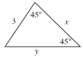 A triangle with side lengths of 3 on left side, x on right side and y on bottom side. 45 degrees angle is in between the left side and right side. Another 45 degrees angle between the bottom side and right side.