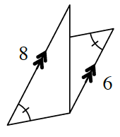 Two triangles where a side from each is parallel to the other. A transversal cuts through the parallel lines forming a side though not the same length of both triangles. The parallel side of the large triangle is 8, and 6 for the smaller triangle. The angle opposite the parallel sides is unknown. The angle opposite the transversal for both triangles is marked as the same.