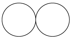 Two circles tangent to each other.