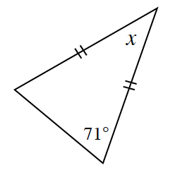 A triangle with two equal sides.  A base angle is labeled 71 degrees. The angle between the two equal sides is, x.