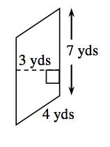 Paralelogramo vertical con el lado derecho rotulado 7 yardas y el lado de abajo, 4 yardas. Hay un segmento de recta punteado trazado perpendicularmente desde el lado derecho hasta el izquierdo, rotulada 3 yardas.