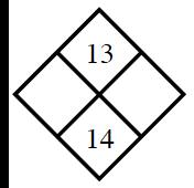Diamond Problem. Left blank, Right blank, Top 13,  Bottom 14