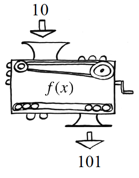 First Function Machine: Input: 10, Rule: f of x. Output: 101.