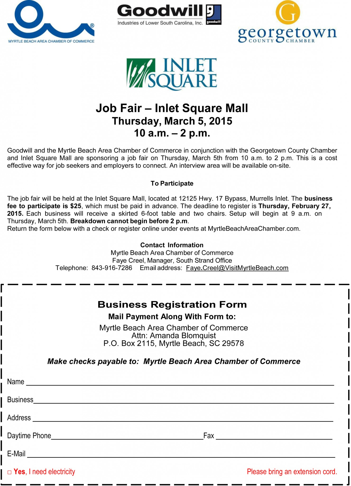 2015 South Strand Job Fair Registration | Conway Chamber of Commerce