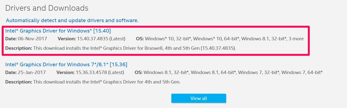 download intel graphics driver update