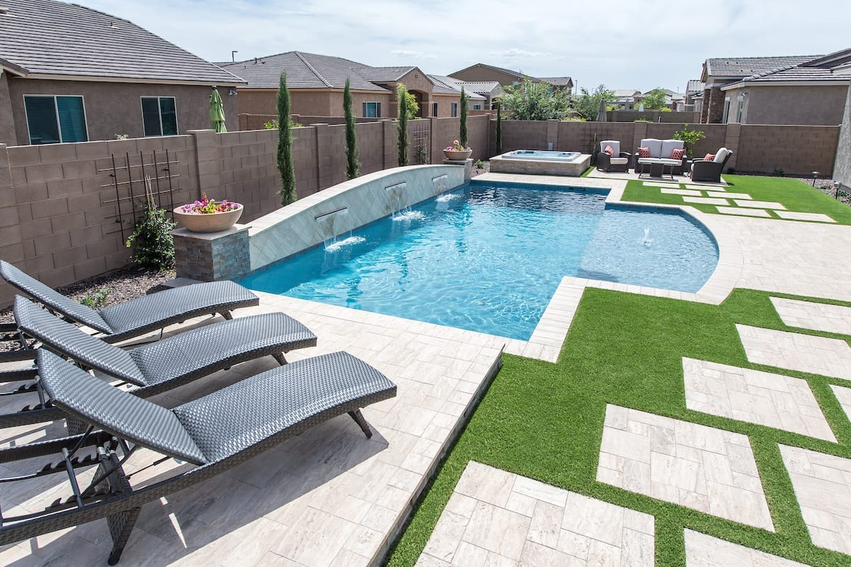 3 water feature modern pool