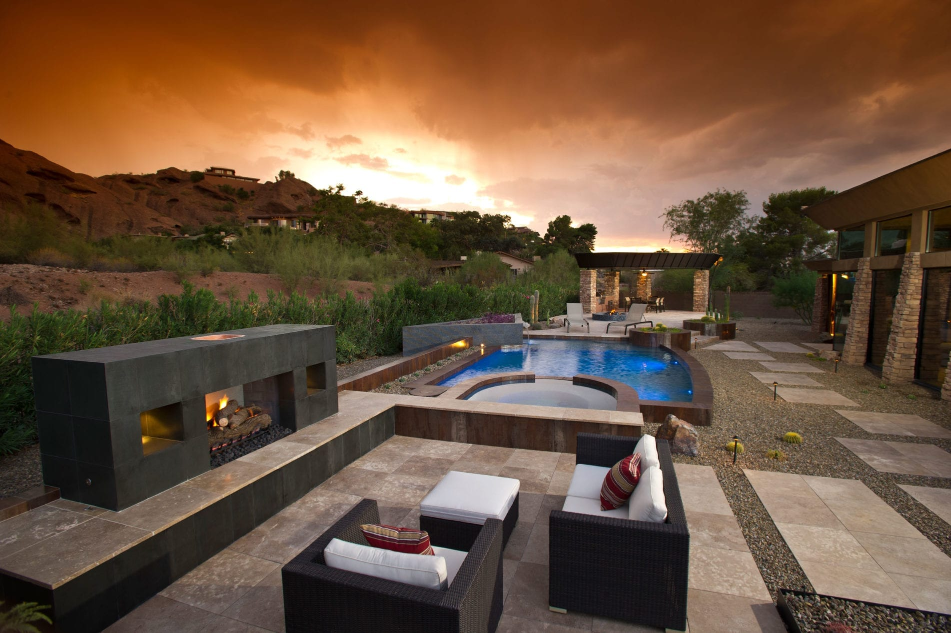 sunset view from modern pool builder