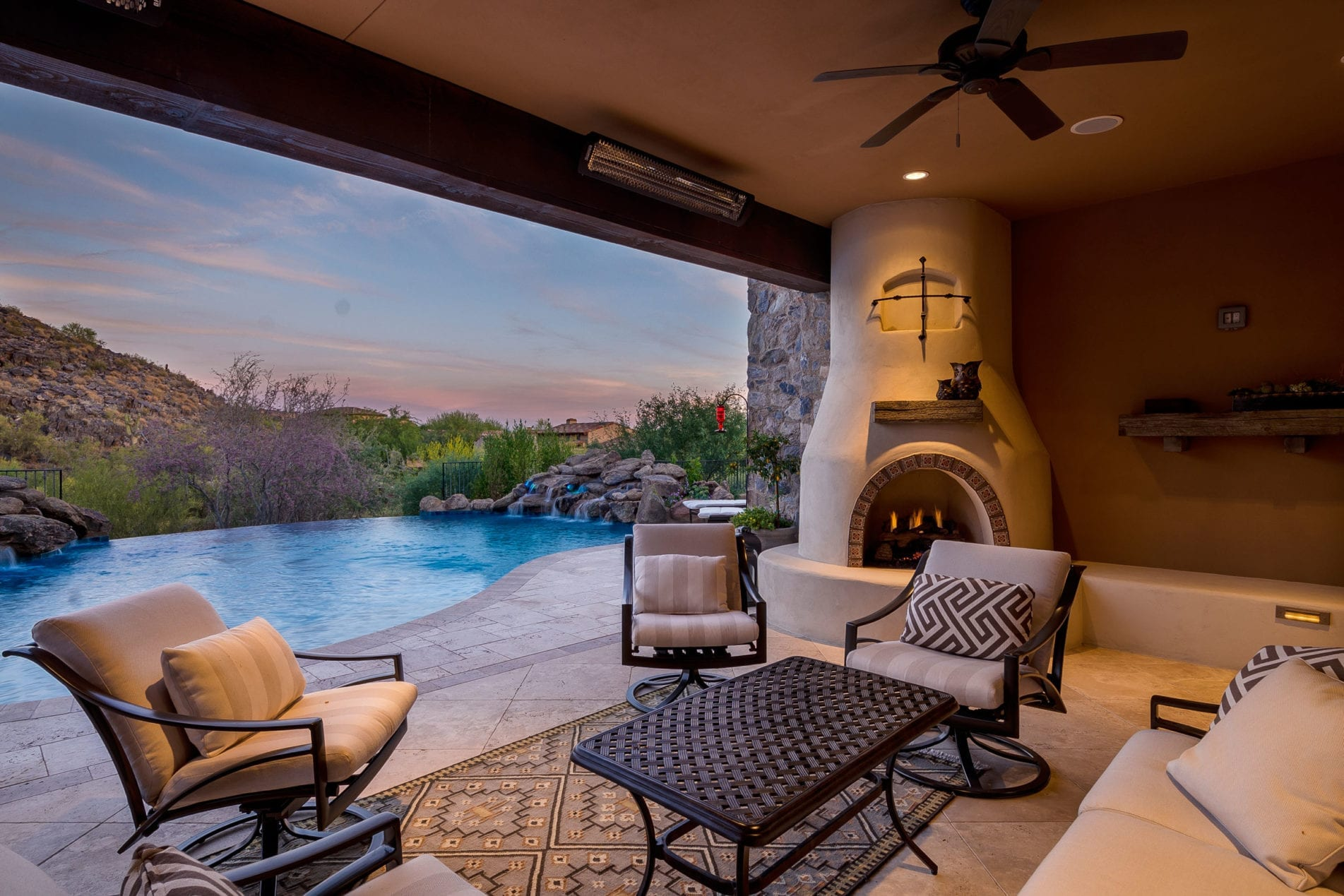 Outdoor Living Twilight Sunset Pool Builder