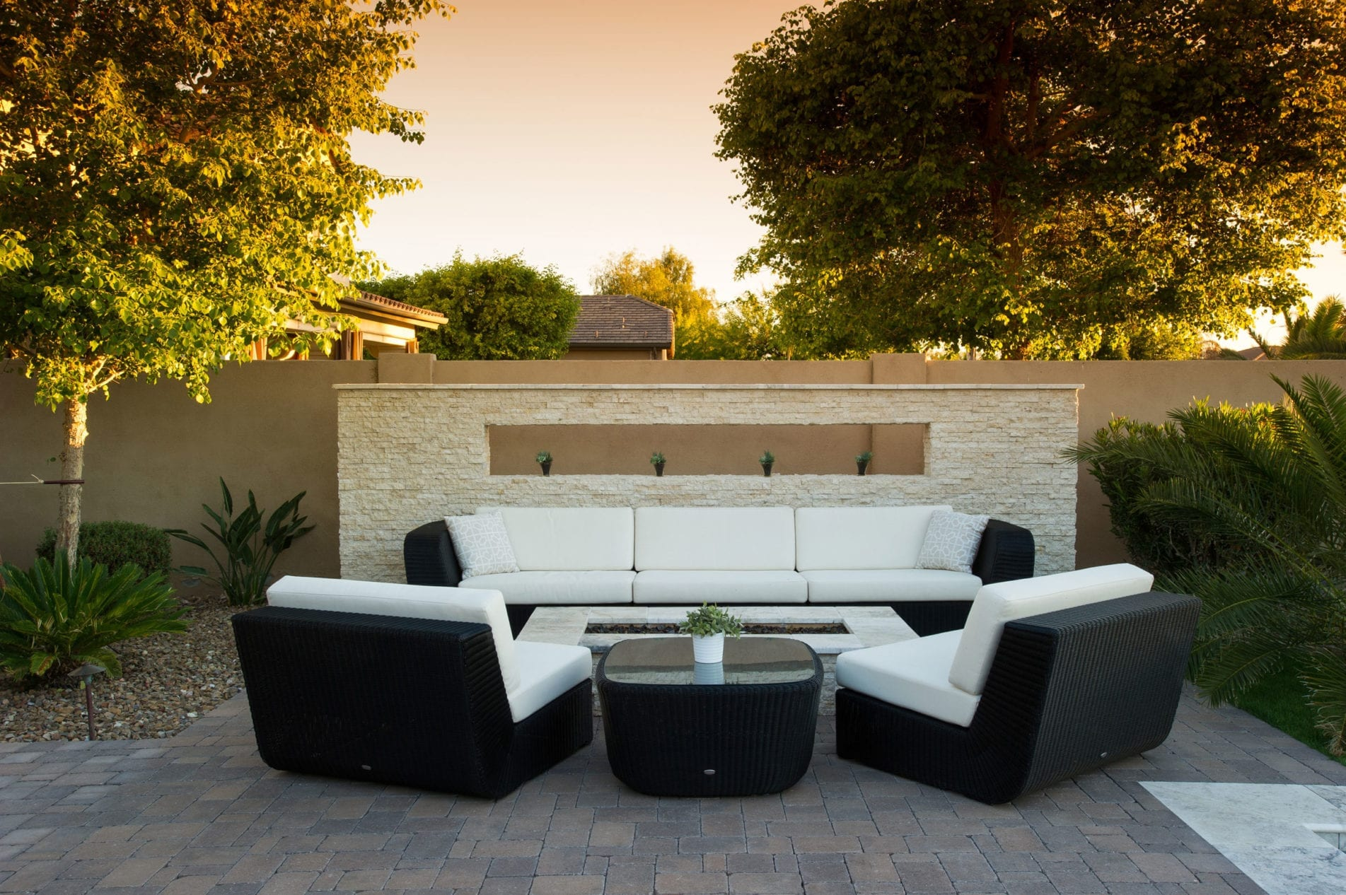 custom backyard seating area