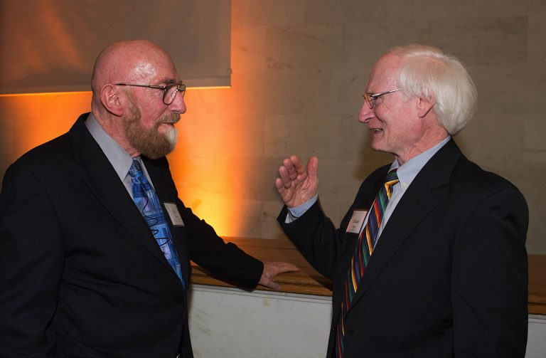 Richard Lipes (right) talks with Kip Thorne, Caltech's Richard P. Feynman Professor of Theoretical Physics, Emeritus, at a Break Through campaign event in 2016