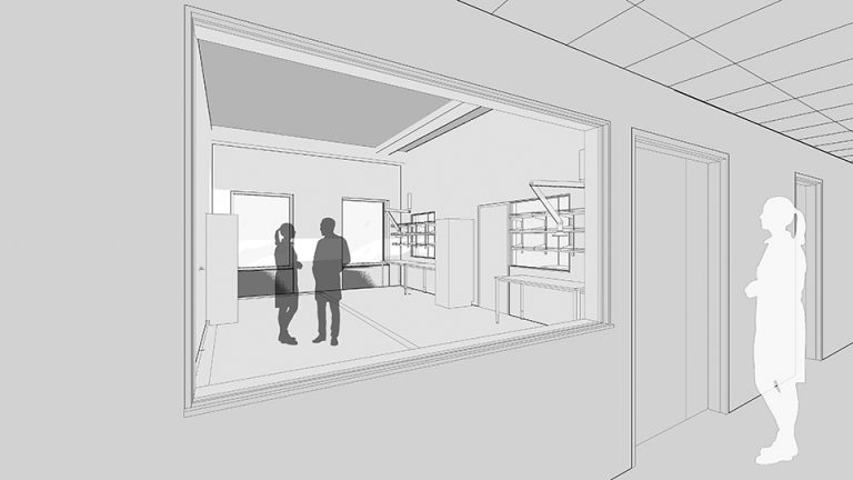 Neurotech lab entrance concept sketch
