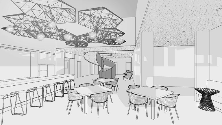 Interior sketch of a cafe space