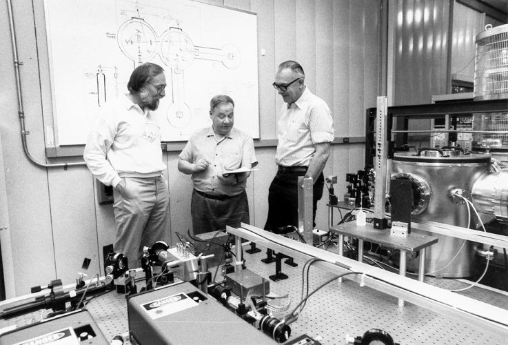 Caltech's Kip Thorne, Ron Drever, and Robbie Vogt in the LIGO 40-meter prototype facility at Caltech, 1990