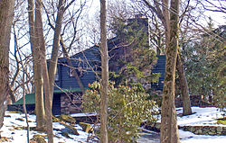 A green wooden house with stone chimney and foundation walls, seen through trees on a sunny winter day.