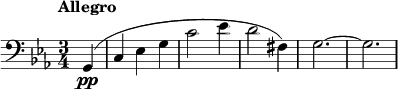 "\relative c{ \clef bass \key c \minor \time 3/4 \tempo ""Allegro"" \partial 4 g(\pp 