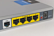 Connections on an ADSL Modem Router (From Left: ADSL line, Etherenet ports, Reset Button, Power input.)
