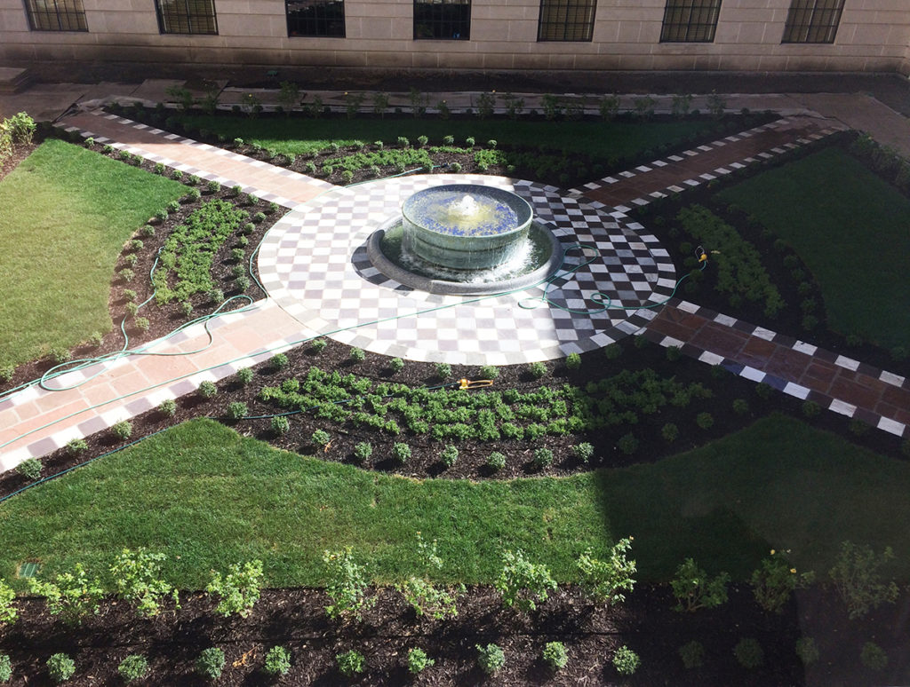 Southwest courtyard is completed and the fountain is running.