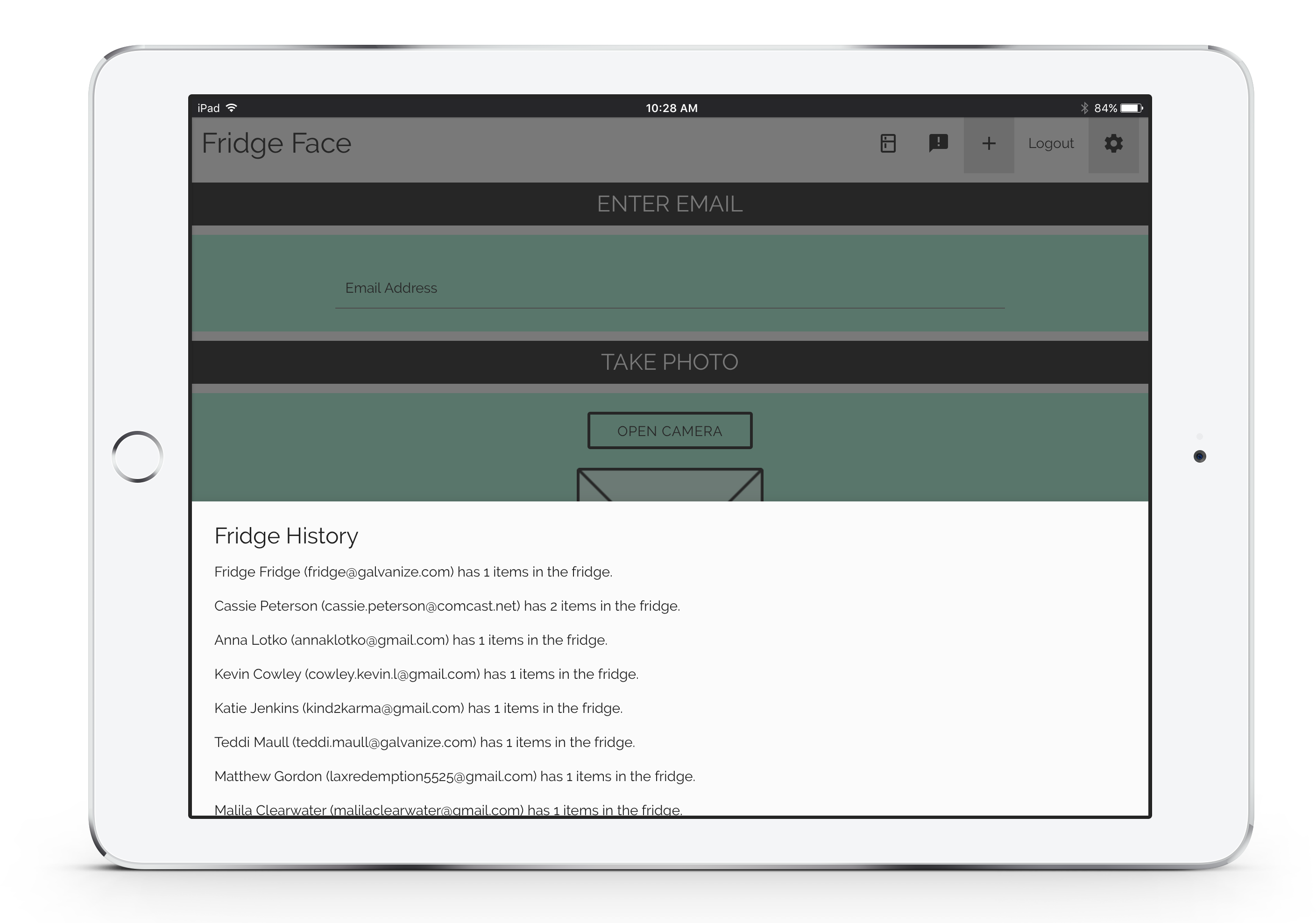 Fridge Face iPad Admin Overview