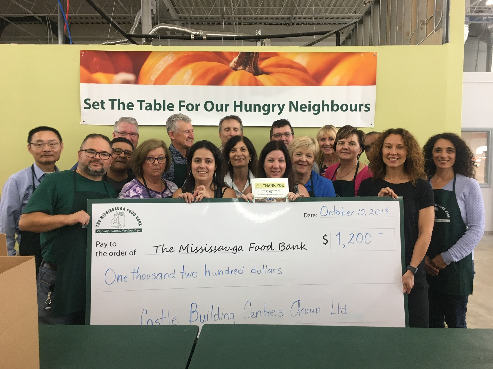 Castle Staff lends a helping hand at the Mississauga Foodbank.