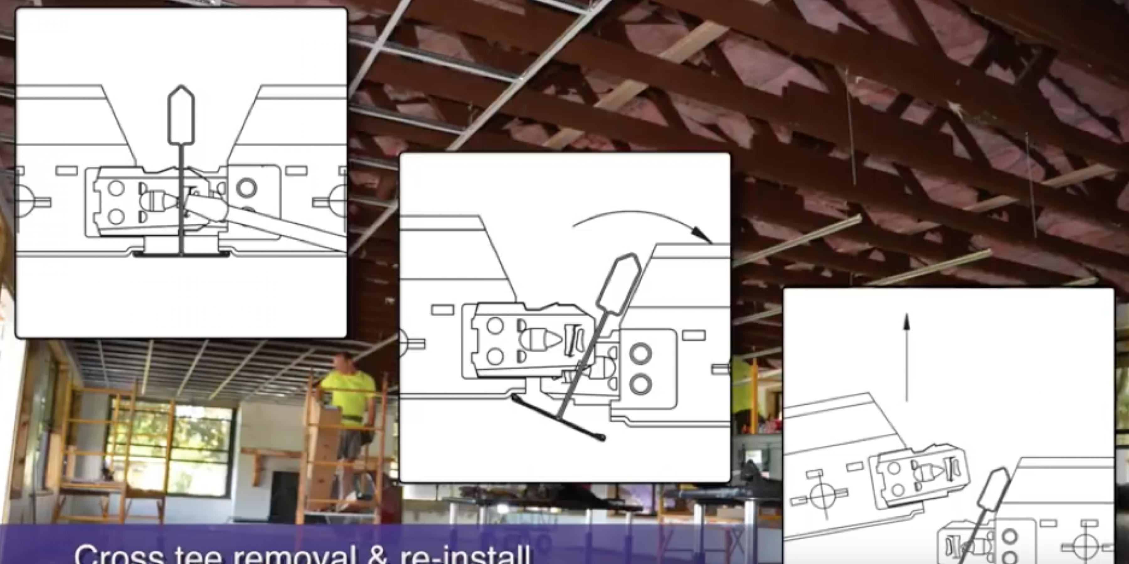 How to stab, remove & re install acoustical cross tees