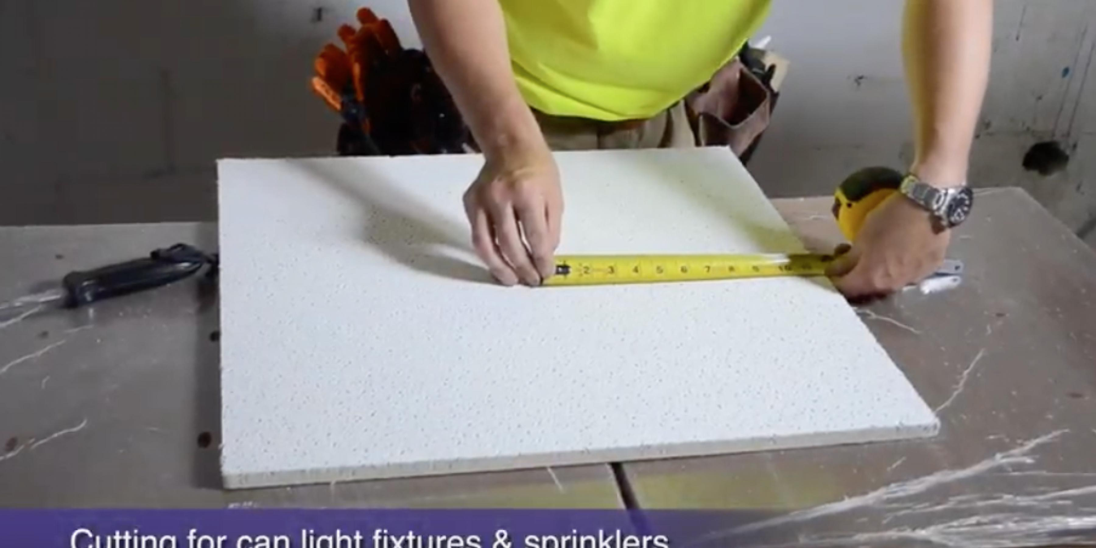 How to cut holes in ceiling tile for sprinkers and can fixtures