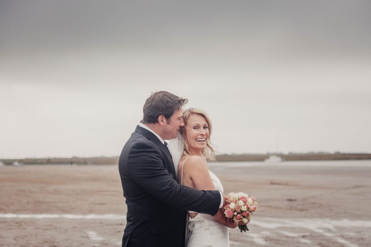 Wedding Photography Weston Super Mare_bride and groom on beach