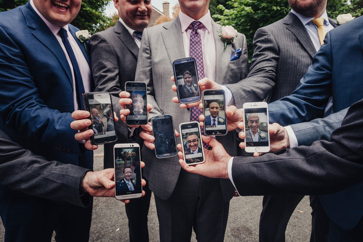 Wedding Photography_St Marys Church Stoke Bishop Bristol_groomsmen selfies