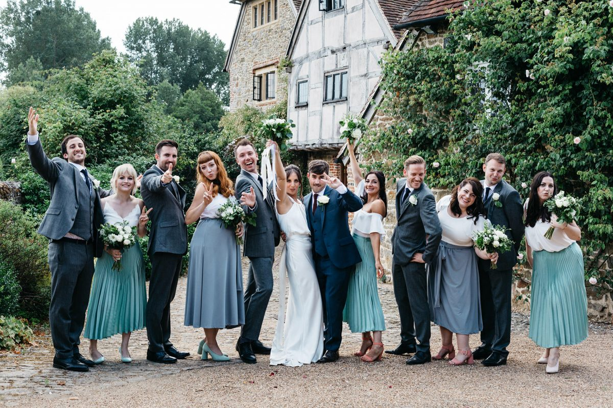Wedding Grittenham Barn_West Sussex_group shot