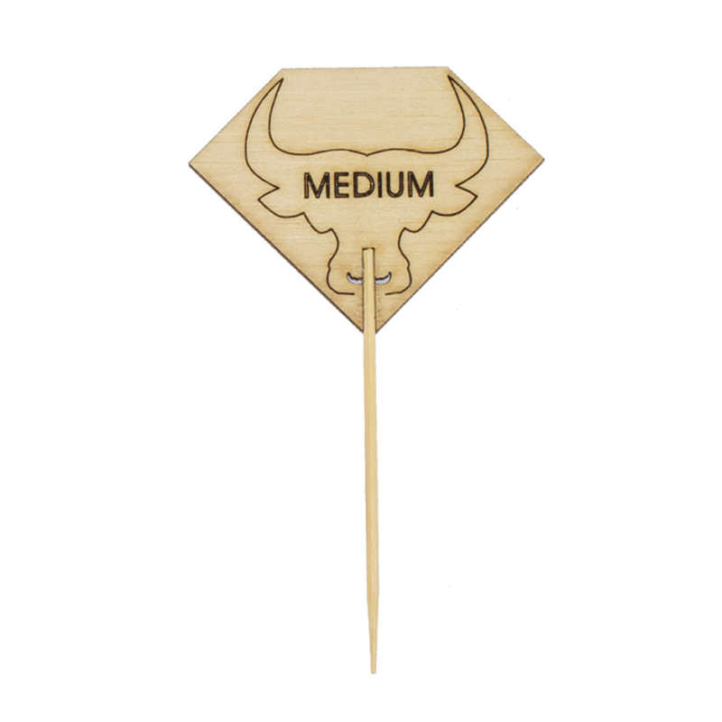 Diamond Shaped MEDIUM Steak Marker With Bull Head - 3.7 in.