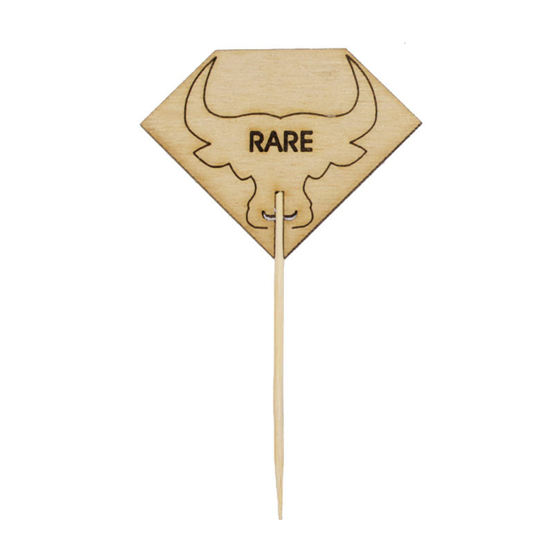 Diamond Shaped RARE Steak Marker With Bull Head - 3.7 in.