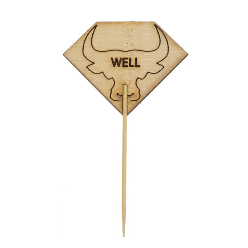 Diamond Shaped WELL Steak Marker With Bull Head - 3.7 in.