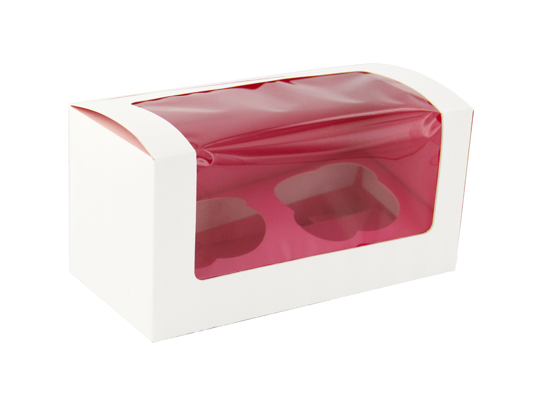 Pink Window Cupcake Box With Insert (Holds 2)