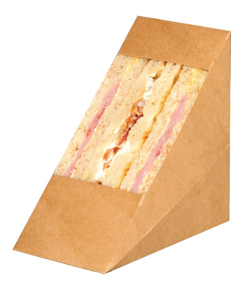 Kraft Double Sandwich Wedge Box With Window - 4.8 x 2.8 x 4.8 in.