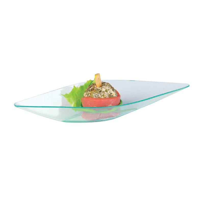 Eleni Clear Green Diamond-Shaped Mini Dish -0.5oz  L:5.1 x W:1.6 x H:.7in