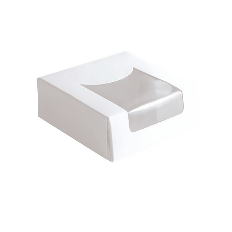 White Pastry Window Box - 3,9 x 3,9 x 1,6 in.