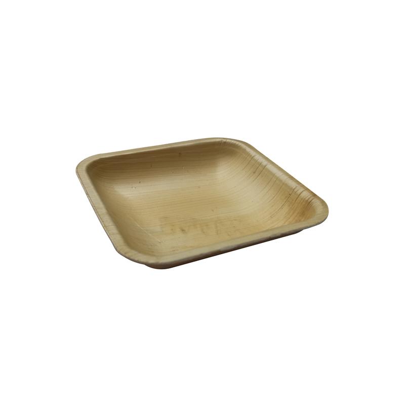 Square Palm Leaf Dinner Plate - L: 4.3 in W: 4.3 in H: 0.8 in - 100 pcs